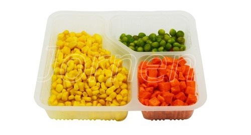 Thermoforming packaging for different kinds of food in one cup.
